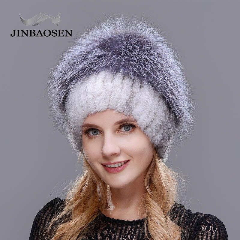 2018New mujeres invierno ruso piel moda piel real sombrero Piel de visón natural zorro tejido lana esquí sombrero caliente oreja protección de sombrero - 3