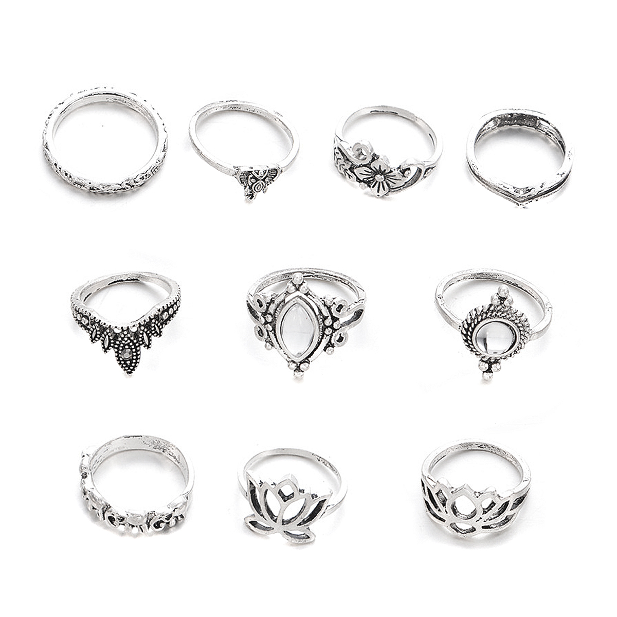 10pcs/Set Vintage Bohemian Ring Set (Less than 1$ each)