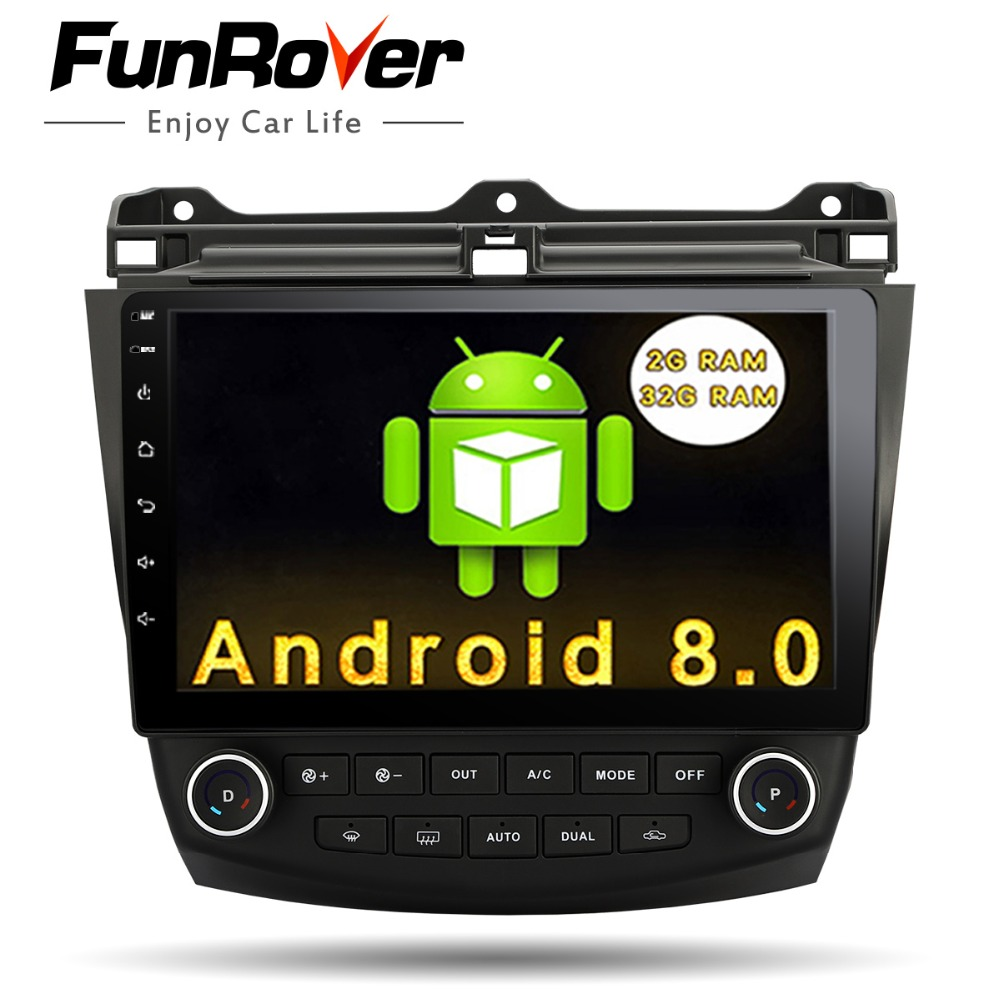 Funrover 10.1 Android 8.0 2 din Voiture Auto Radio lecteur dvd pour Honda Accord 7 2003 2004 2005 2006 2007 GPS Multimédia wifi navi