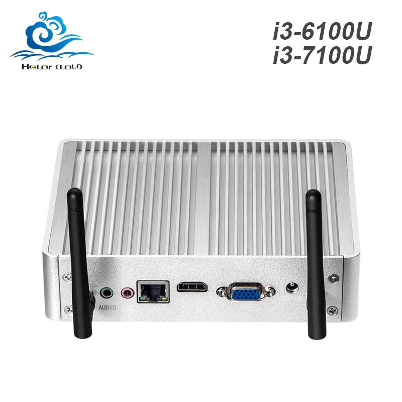 Windows 10 Mini PC 4K HD Mini Computer Intel Core i3 7100U 6100U 4010U Computer PC Barebone DDR3L memory HDMI VGA USB3.0 WIFI