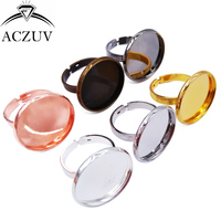 100Pcs for 10mm 12mm 14mm 16mm 18mm 20mm Cabochon Setting Round Bezel Ring Base Adjustable Ring Blanks Findings JZT010