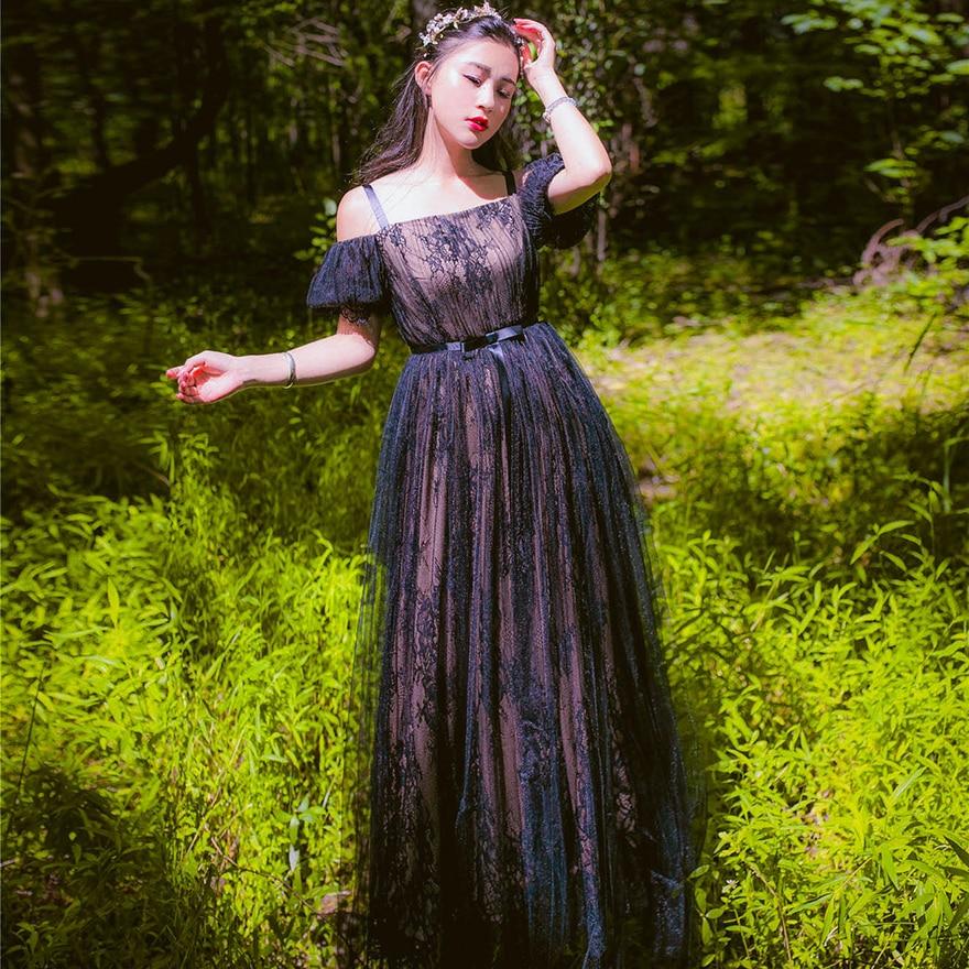 e0e4023e09380c Freeship zwarte kant bubble mouw vintage middeleeuwse jurk Renaissance  prinses Victoria jurk Marie lange jurk in Freeship zwarte kant bubble mouw  vintage ...