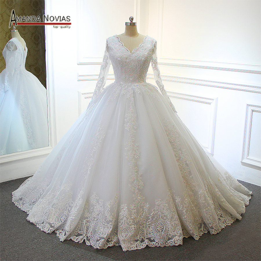 High Quality Wedding Dress Factory Ball Gown Long Sleeves Wedding Dress Lace