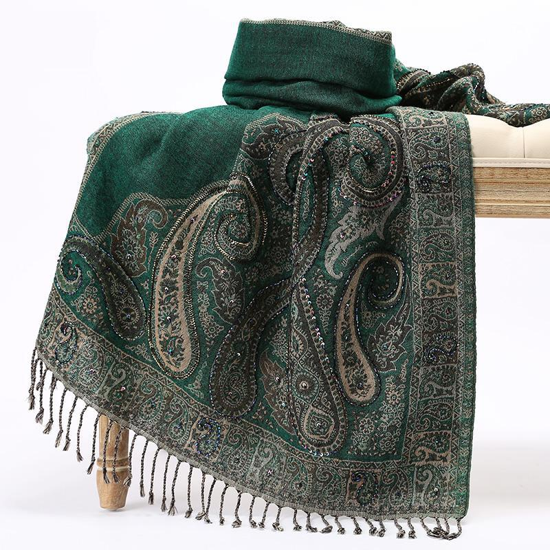 GREEN Women Tassels Shawls Shawl Nepal National Style Cape Handmade Embroidery Fashion Wrap Pashmin Vintage Nail Beads Scarves