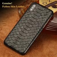 LAGNSIDI Brand Cell Phone Case Natural Python Skin Cover Phone Case For Iphone 7 Cell Phone