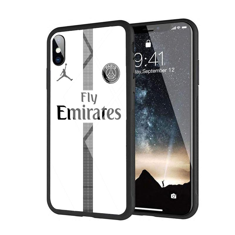 8ca1aa9cda8 Fly PSG Paris Football Jersey Jordan 23 Neymar Black Silicone Edge Tempered  Glass Back Case For iphone 8 6S 7Plus XS XR MAX -in Phone Pouch from  Cellphones ...
