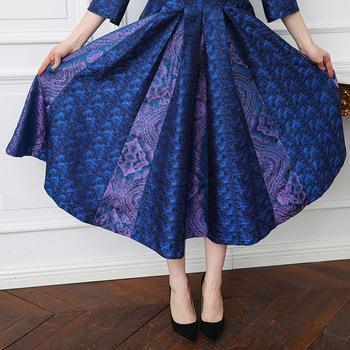 VOA 2018 Spring Navy Blue Vintage Plus Size High Waist Slim Silk Party Dress Heavy Silk Jacquard Women Tunic Long Dress A131 4