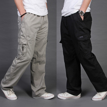 Free delivery Men's clothes free informal pants male plus measurement 100% cotton overalls male lengthy trousers model L-6XL 11 colours