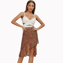 Elegant Boho Chiffon Print Skirts Womens Casual Morden Trumpet Beach V