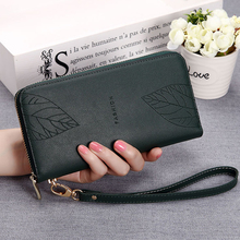 Korean Fashion Long wallet women Large Capacity Ladies leather Multi-card Bit Billetera Mujer 2019 Leaf Girls Purse