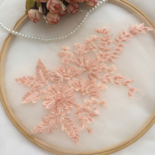 2Pieces Ivory White Red Gray Wedding Dress Head Ornaments Lace Applique Trim DIY Patches Accessories