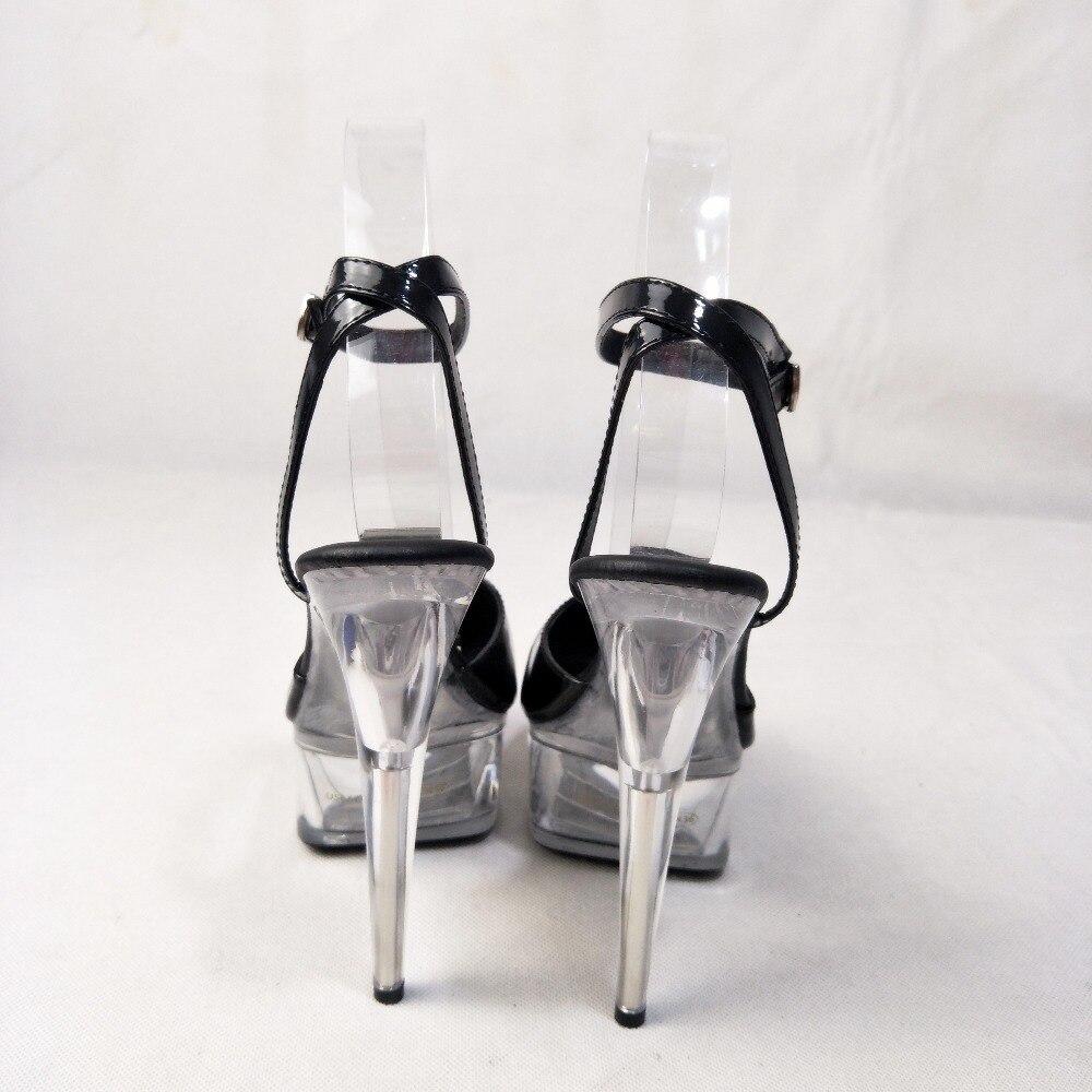 Новые сандалии со стразами в магазине на высоком каблуке 15 см были рекомендованы владельцем магазина для модных женских сценических сандал... - 4