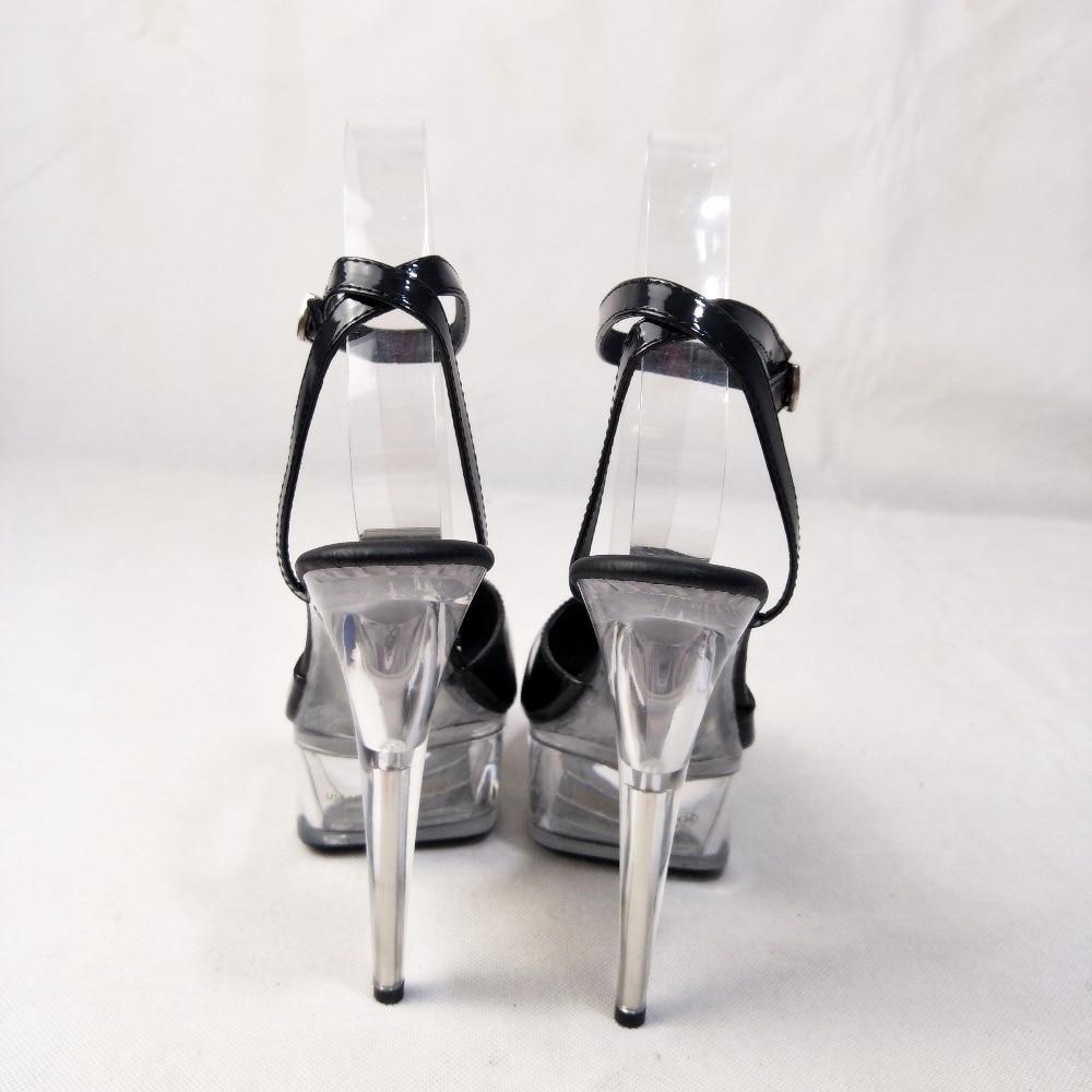 De nieuwe winkel kristal sandalen, met 15 cm hoge hakken, waren aanbevolen door de winkel eigenaar voor vrouwen trendy podium sandalen - 4