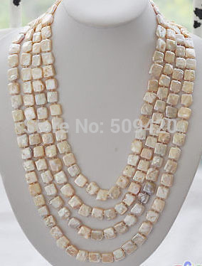"""~~ Free Shipping 100"""" 13mm square pink Freshwater cultured pearl necklace"""