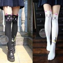 1 пара/лот,, консервативный стиль, женские сексуальные колготки Сейлор Мун, женские весенне-Осенние Колготки с котом, черные и белые