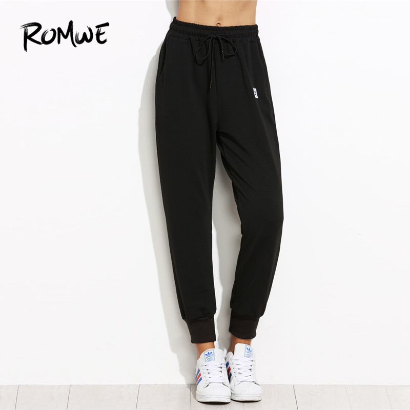 Romwe Sport Drawstring Waist Black Jogging Pants Women 2019 Outdoor Gym Running Sportswear Loose Training Pants Sweatpants