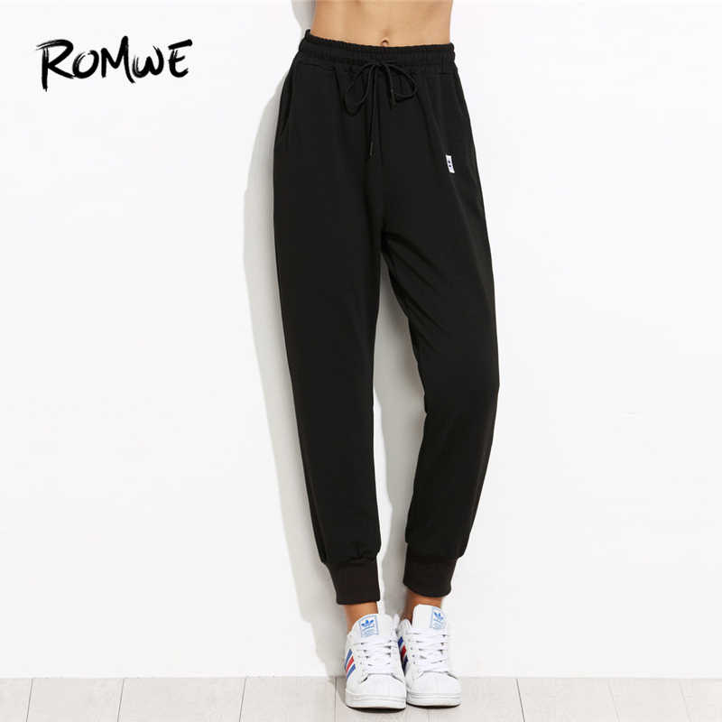 Romwe Sport Black Drawstring Waist Fitness Jogging Pants Women 2019 Outdoor Gym Running Sportswear Loose Training Pants