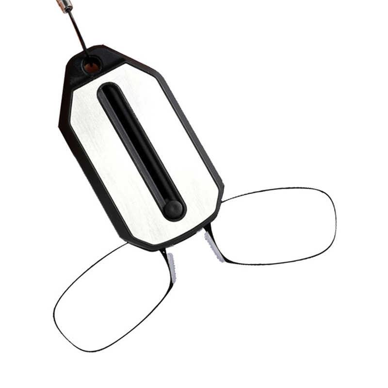نظارات قراءة صغيرة على شكل مشبك للابن الأحمر للرجال نظارات قراءة قابلة للطي للنساء سهلة الحمل مزودة بسلسلة مفاتيح
