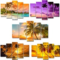 5 pieces canvas painting tropical beach plam tree ocean set wall mural with frame pictures artwork ready to hang for living room
