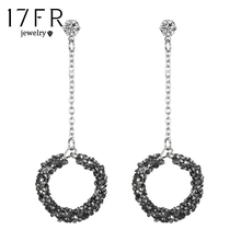 17FR fashion black gravel round pendant earrings ladies handmade round geometric rhinestone statement jewelry Bijoux2018new