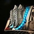 Nuevos Coloridos zapatos con luces led que brilla intensamente up zapatos ocasionales luminosos simulación hombres Parejas zapatos para adultos neón cesta