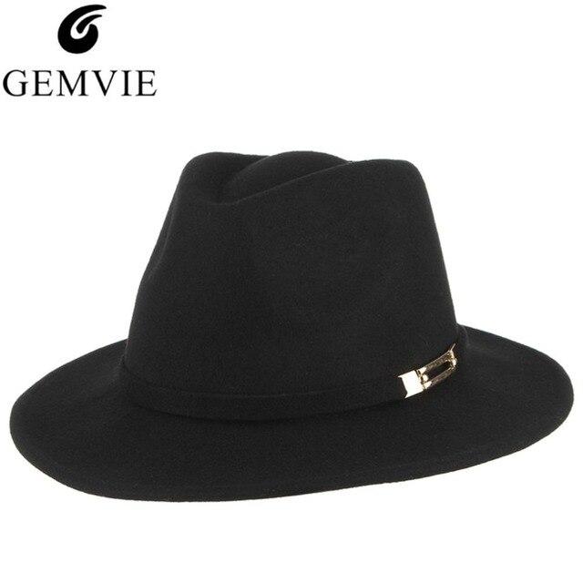 Ala ancha sombreros de lana para las mujeres sombreros de invierno con  hebilla de Metal Color 94e8f0302af