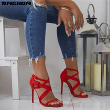 TINGHON  New Gladiator Women High Heels Sandals Thin Heels Ladies Sexy Party Flock Cross-tied Open Toe Shoes women gladiator sandals cross tied open toe high heels pumps cut outs serpentine lace up sandals party wedding sexy ladies shoes