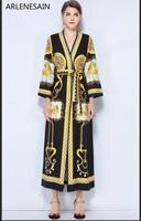 Arlenesain на заказ 2019 высокое качество Дизайнерские макси платья 2018 новое женское длинное платье Подиум винтажный узор с v образным вырезом