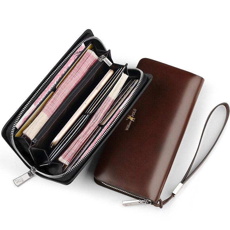 Men/'s long embrayage en cuir véritable Portefeuille Fermeture Éclair à deux volets Support Téléphone Porte-monnaie