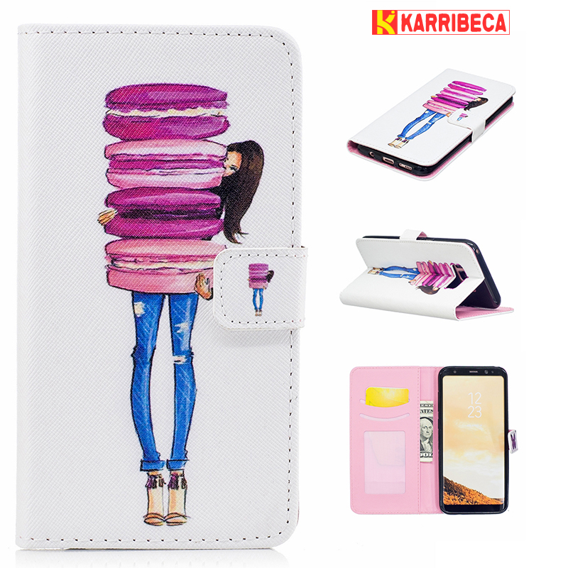 Galleria fotografica Cake girl butterfly lace Cover For Samsung galaxy s8 flip PU wallet leather case samsung s8 G950F case coque etui kryty pouzdra