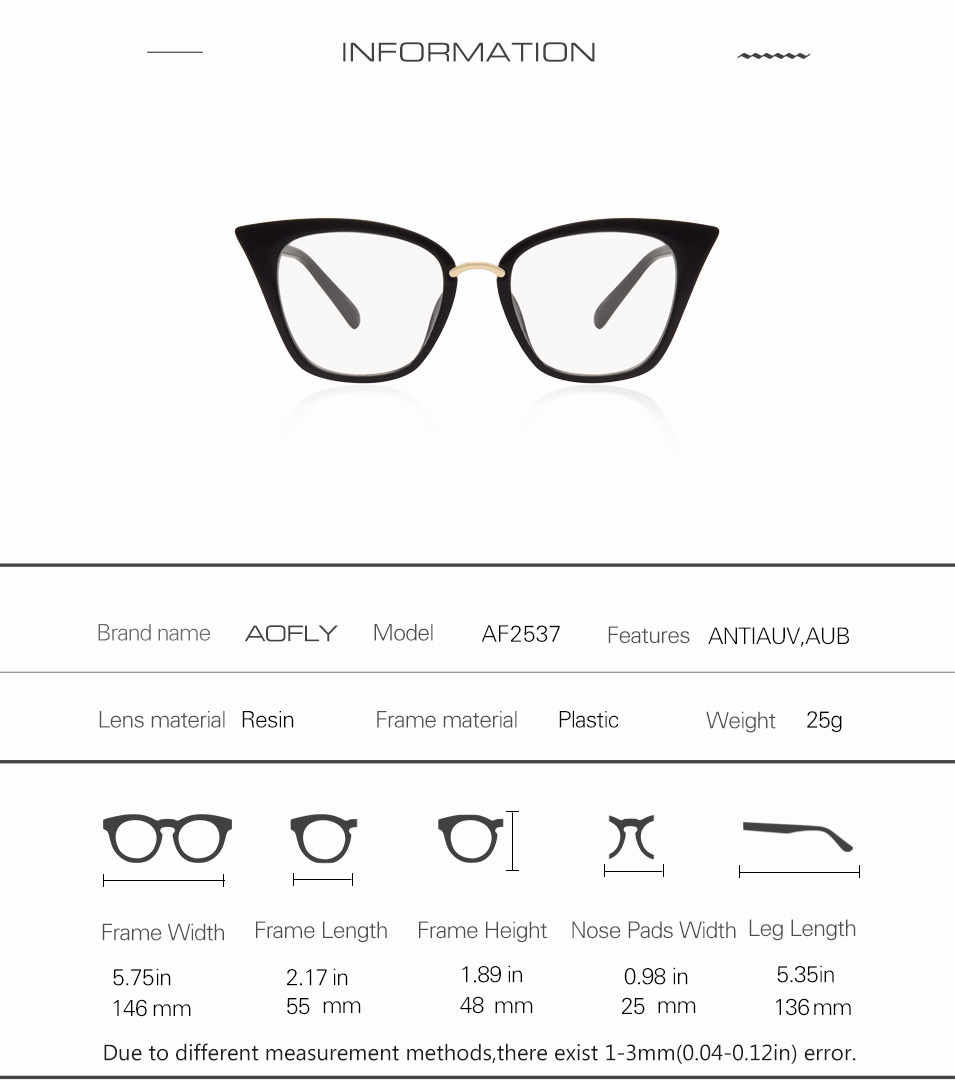 5881ccbe96f AOFLY Brand Design Women s Plain Glasses Cat Eye Glasses Frame Clear Lens  Optical Spectacle Eyeglasses Fashion Goggles AF2537. AF2537 01 AF2537 02  AF2537 03 ...
