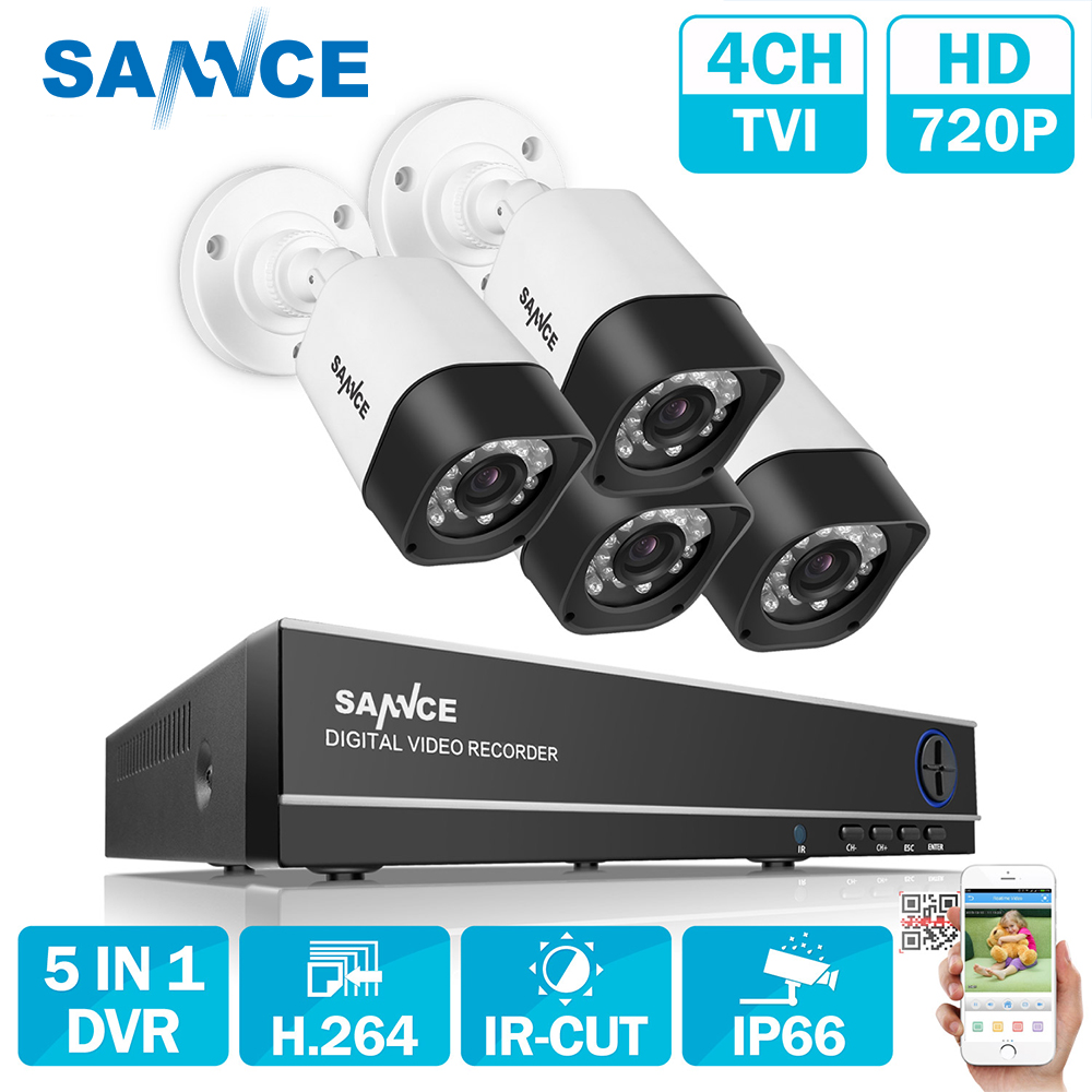 SANNCE 4PCS TVI 1500TVL 720P In// Outdoor IR Camera Security Surveillance System