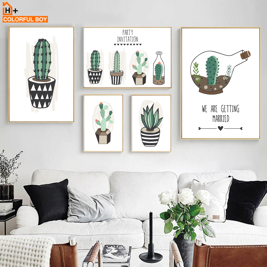 COLORFULBOY 선인장 녹색 식물 캔버스 그림 북유럽 수채화 포스터 및 인쇄 벽 거실 장식