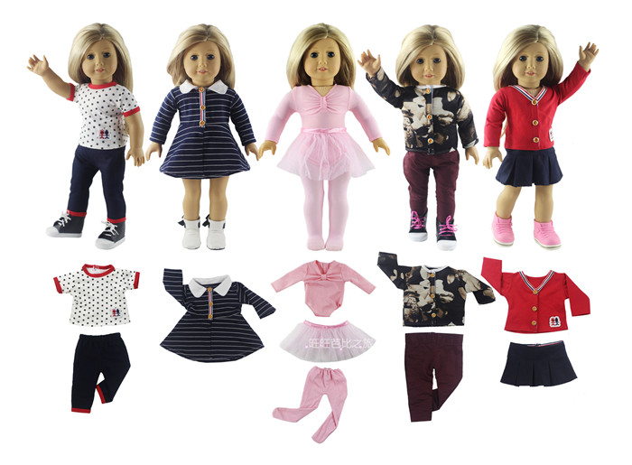 5 Set Doll Clothes for 18 Inch American Girl Doll Handmade Casual Wear Clothes american girl doll clothes 4 styles elsa blue lace princess dress doll clothes for 16 18 inch dolls baby doll accessories x 2