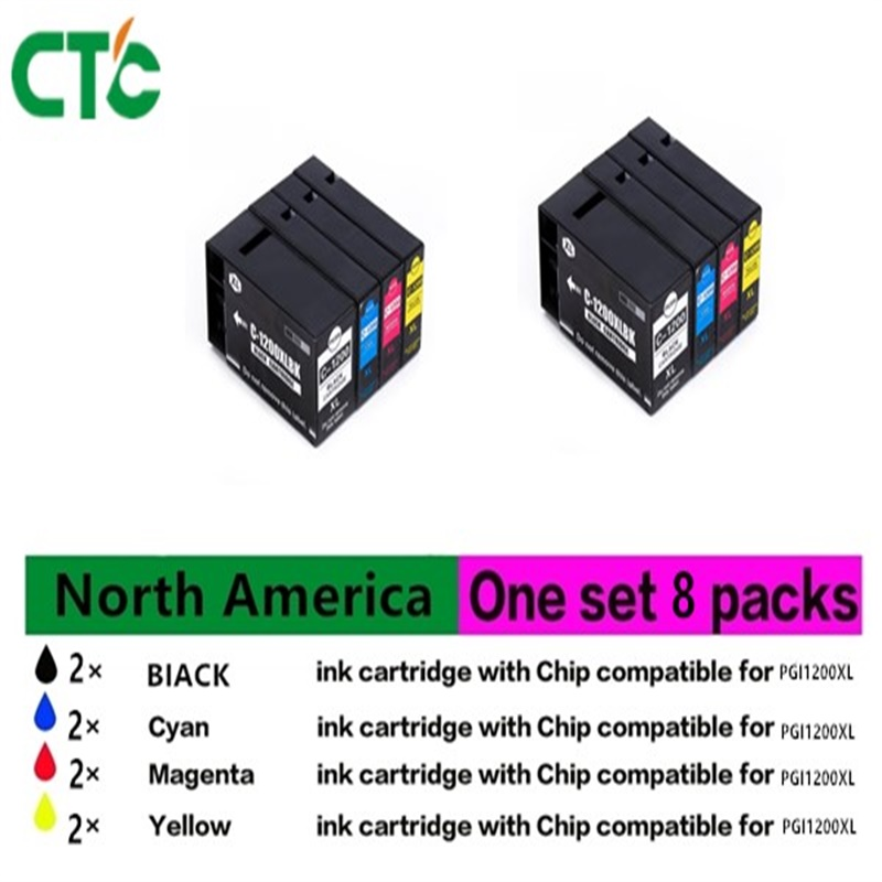 Compatible 8PK PGI1200 XL Y Ink Cartridge For Canon MB2020 MB2320 free shipping pgi 725bk cli 726bk c m y gy compatible for canon ink cartridge for canon mg5270 mg5170 mg6170 mg8170 mg5370