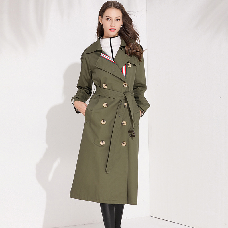 High Quality 2019 Autumn Winter Office Ladies Long   Trench   Coat Outwear Army Green Women's Double Breasted Windbreaker Coats