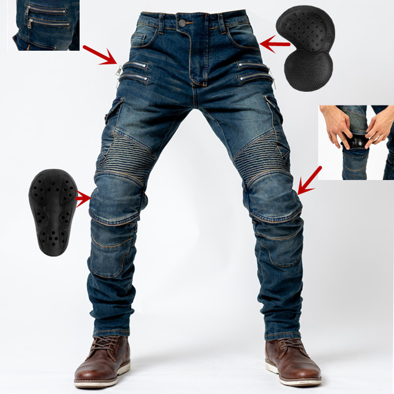 4 Season Fit Motopants leisure motorcycle jeans riding trousers off-road motocross riding pants zipper design with protection