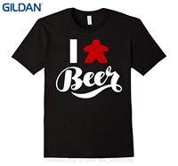 GILDAN 2017 Latest Men T Shirt Fashion I Love Beer Meeple Style T Shirt Tabletop Board