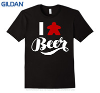 GILDAN 2017 Latest Men T Shirt Fashion I Love Beer Meeple Style T Shirt Tabletop Board