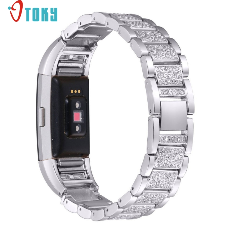 Excellent Quality Watch Band Crystal Stainless Steel Watch Band Wrist Strap For Fitbit Charge 2 Mar 27