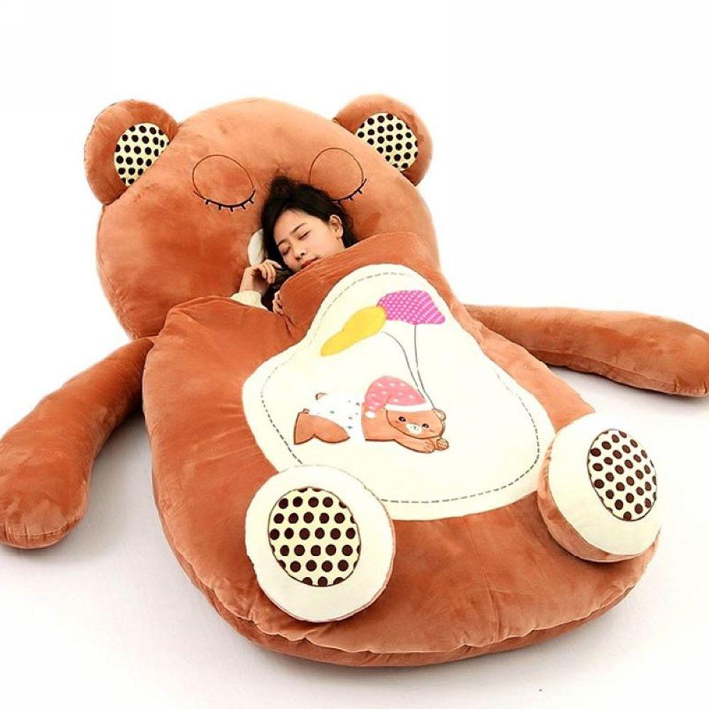 Fancytrader Giant Cartoon Sleeping Bag Soft Plush Animal Frog Bear Monkey Beetle Cat Beanbag Sofa Bed Carpet Tatami Mat 5 Models