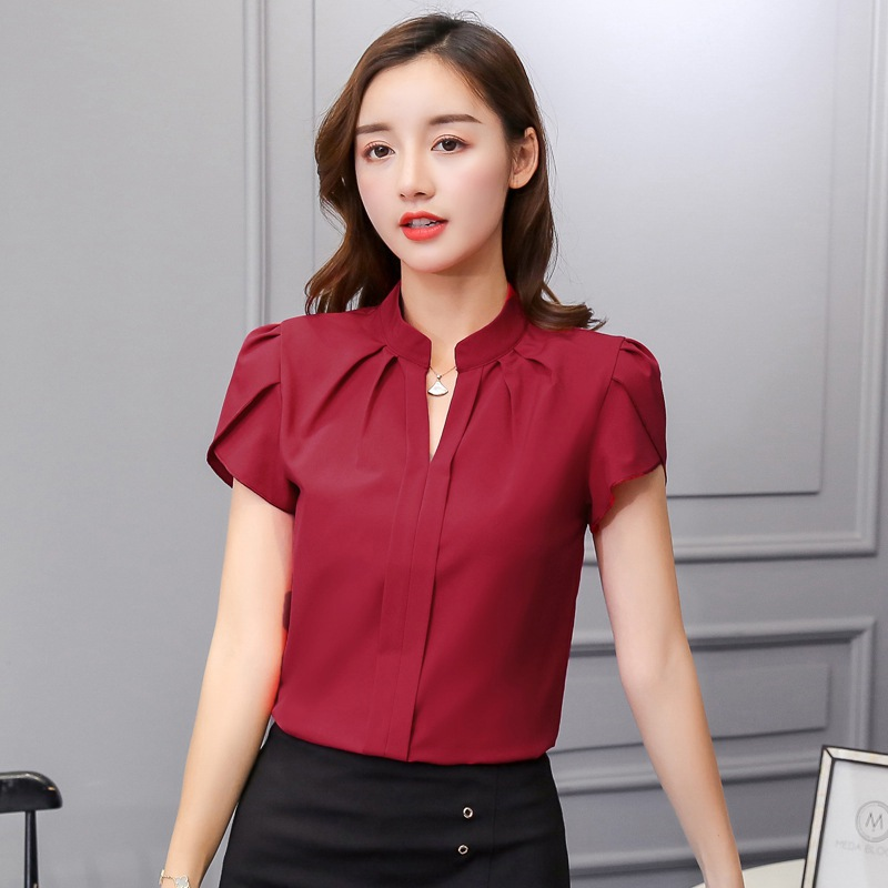 Women V Neck Chiffon Blouse Short Sleeve Solid Color Shirt Large Sizes Bodycon Elegant Ladies Autumn Fashion Shirt