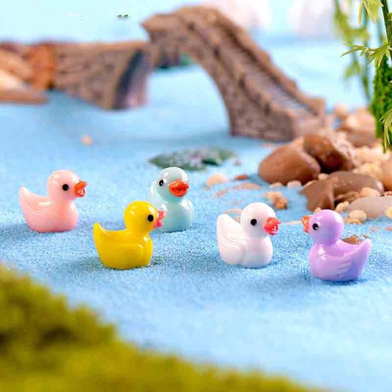 20 Pcs Mini Cute Ducks Miniatura Dollhouse Garden Home Bonsai Decoration Mini Toy Miniature Pvc Craft Ornaments Micro Decor DIY