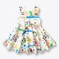 Niñas Vestido de Primavera Verano de los Bebés Ropa de Niños Vestido de La Princesa de Los Niños Vestidos Sin Mangas de la Pintura Europea Traje de 3-12 Años