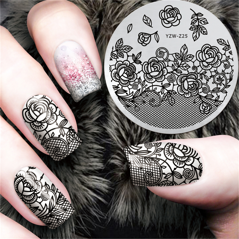 LCJ New Black Flower Lace Design Nail Stamping Plates Konad Art Manicure Template Stamp Tools YZW Z25