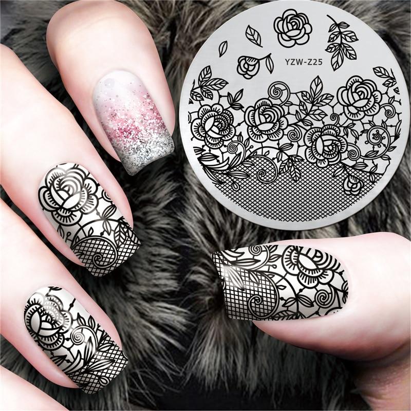 Lcj New Black Flower Lace Design Nail Stamping Plates Konad