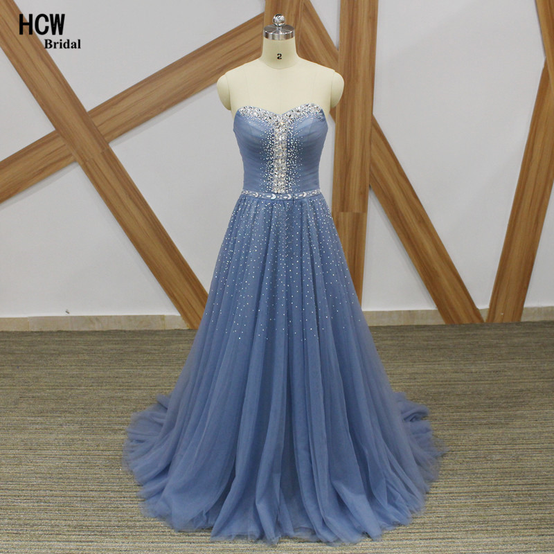 Elegant Long Grey Formal Prom Dresses 2019 Bling Beaded Crystal Strapless A  Line Tulle Plus Size Prom Dress Robe De Soiree 1c5087311e5e