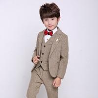 Boys Formal Suits For Weddings Kids Prom Performance Party Blazer Vest Pants Tuxedo Clothing Set Child Gentleman Costume B050