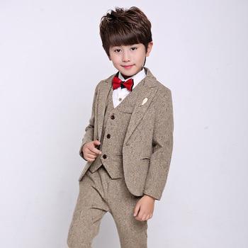 3d56e9477e Niños formal Trajes para bodas prom rendimiento partido chaqueta Pantalones  Tuxedo ropa set niño traje Caballero b050
