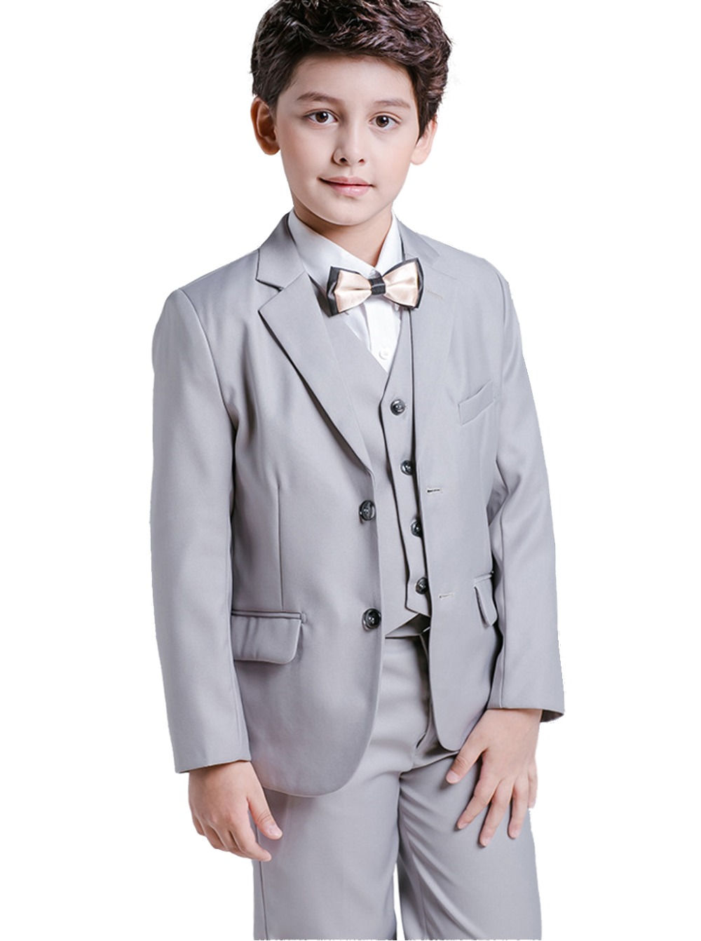 цены 5 Piece Boys Grey Suits Slim Fit Ring Bearer Suit For Boys Formal Classic Costume Weddings